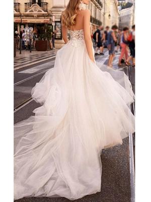 Einfache Brautkleider Tüll Herzausschnitt Ärmellos A-Linie Spitze Flora Brautkleider mit Zug_2