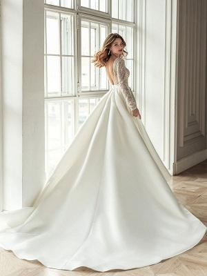 Einfaches Brautkleid mit Zug A-Linie V-Ausschnitt mit langen Ärmeln Spitze Brautkleider_2