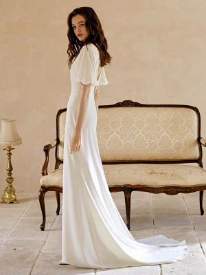 Weißes einfaches Brautkleid mit Zug A-Linie Meerjungfrau V-Ausschnitt Kurze Ärmel Polyester Brautkleider_2
