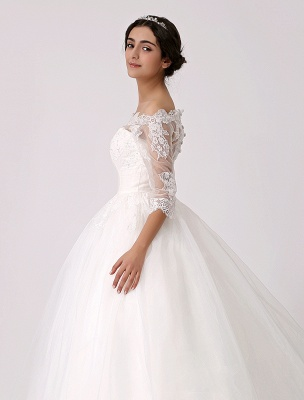 Off The Shoulder Princess Lace Wedding Dress With Illusion Neckline Exclusive_6