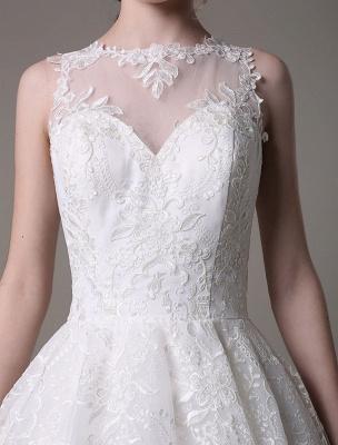 2021 Lace High-Low Brautkleid mit Llusion-Ausschnitt und Rücken exklusiv_9
