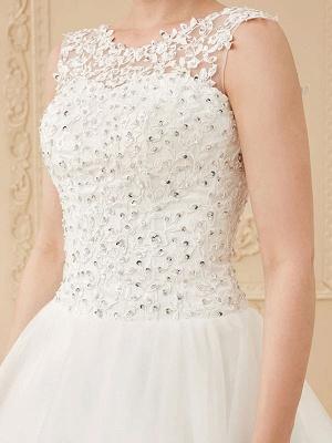 White Jewel Neck Sleeveless Soft Tulle Lace Up Floor Length Bride Dresses_7