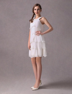 Einfache Brautkleider Elfenbein Chiffon Cocktailpartykleid Perlen Tiered A Line Halfter Kurzes Brautkleid Exklusiv_3
