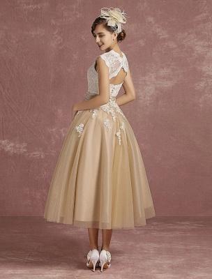 Vestido de novia de la vendimia Vestido de novia corto con apliques de encaje de champán Vestido de novia con cuello de la reina Ana Vestido de novia de la longitud del té_7