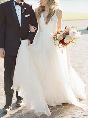 A Line Wedding Dress Ivory Blackless V Neck Spaghetti Straps Wedding Dress_2