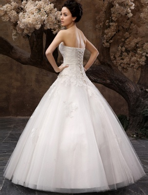 Floor-Length White Bridal Ball Gown Wedding Gown With Sweetheart Neck Applique_4