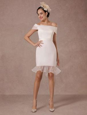 Kurzes Brautkleid Meerjungfrau Off-The-Shoulder Satin Vintage Brautkleid Rüschen Mini Braut Sommer Brautkleider 2021 Exclusive_3
