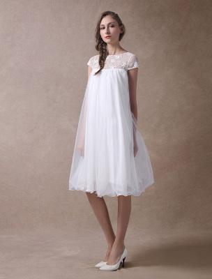 Simple Wedding Dresses Short Empire Waist Lace Tulle Cap Sleeve Pregnant Bridal Dress Exclusive_5