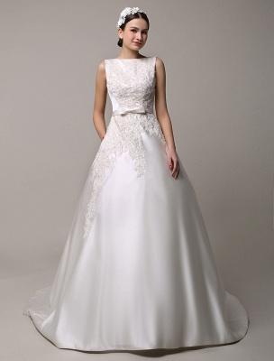 Vestido de novia de encaje con espalda descubierta y cuello barco con bolsillos de inserción Exclusivo_1