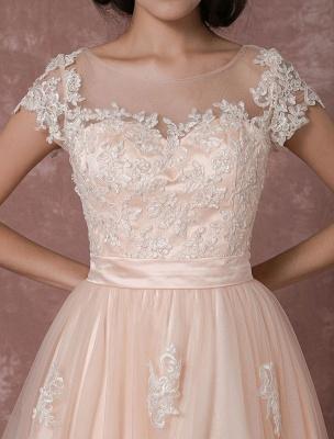 Wedding Dress Short Vintage Bridal Dress Backless Illusion Lace Applique Tea-Length A-Line Reception Bridal Gown Exclusive_9