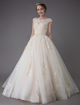 Wedding Dresses Princess Ball Gowns Champagne Lace Applique Beaded Colored Maxi Bridal Dress_1