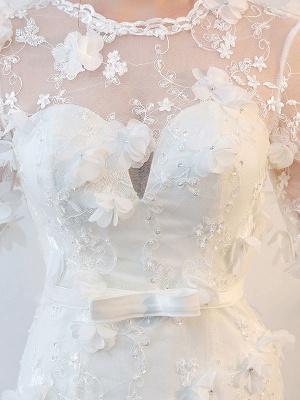 Brautkleider Langarm Meerjungfrau Blumen Applique Bows Elfenbein Brautkleid mit Zug_7
