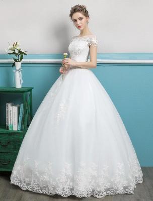 Prinzessin Brautkleider Ballkleider Spitze Perlen Elfenbein bodenlangen Brautkleid_2