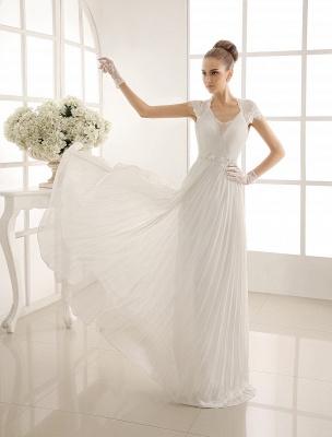 Vestido de novia con escote en pico y encaje hasta el suelo exclusivo_3