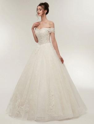 Princess Wedding Dresses Off The Shoulder Ivory Bridal Dresses Lace Applique Tulle Floor Length Ball Gowns_3
