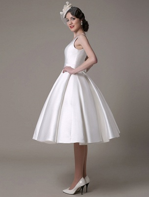 Ivory Wedding Dress Scoop Backless Knee Length Satin Wedding Gown Exclusive_7