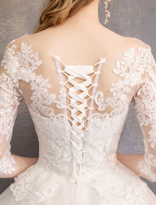 Prinzessin Brautkleider Spitze Illusion Ausschnitt Halbarm Bodenlangen Brautkleid_17