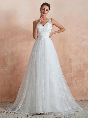 Wedding Dress 2021 A Line V Neck Sleeveless Floor Length Bridal Gowns With Train_5