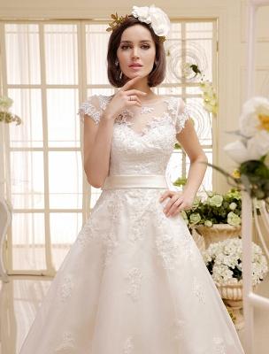 Kurze Brautkleider Elfenbein Spitze Applique Vintage Brautkleid Illusion Schatz Offener Rücken Tee Länge Brautkleider Exklusiv_5