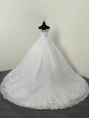 Brautkleider 2021 Ballkleid Schulterfrei Kurzarm Natürliche Taille Spitze Applique Tüll Brautkleid_2