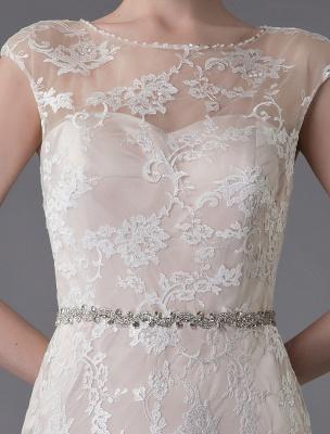 Spitzenhochzeitskleid Champagner Juwel Ärmellos Rückenfreies Meerjungfrau Brautkleid mit Schleppe Exklusiv With_9