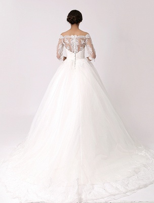 Off The Shoulder Princess Lace Wedding Dress With Illusion Neckline Exclusive_4