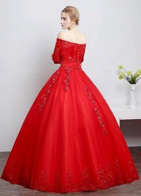 Brautkleid aus Spitze schulterfrei Elfenbein A-Linie Lace Up Half Sleeve Pailletten bodenlangen Brautkleid_6