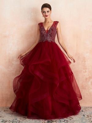 Ball Gown Wedding Dress Princess Floor Length V Neck Sleeveless Sequins Tulle Bridal Dresses_4