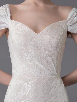 Robe de mariée en dentelle crème vanille chérie robe de mariée à manches courtes robe de mariée sirène avec train exclusif_9