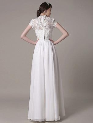 Sheath Wedding Dress V-Neck Lace Chiffon Pleated Floor Length Bridal Dress Exclusive_8