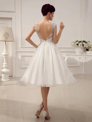 Kurze Brautkleider Vintage 1950er Brautkleid rückenfrei Spitze Perlen Plissee Pailletten Illusion Hochzeitsempfang Kleid mit exklusiven_5