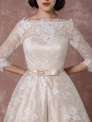Lace Wedding Dress Vintage Bateau Champagne Half Sleeves Bridal Gown A Line Backless Tea Length Sash Reception Bridal Dress Exclusive_7