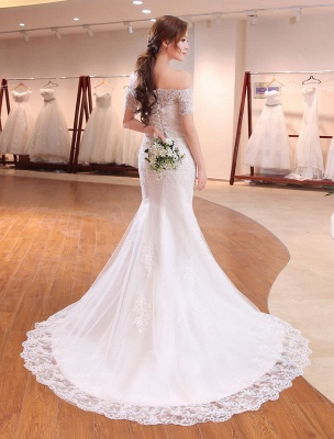Mermaid Wedding Dresses Lace Beading Off The Shoulder Short Sleeve Fishtail Ivory Bridal Gown With Train_3