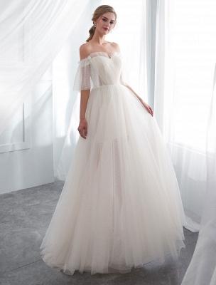 Ivory Wedding Dresses Off Shoulder Half Sleeve Tulle Beach Bridal Dress With Train_4