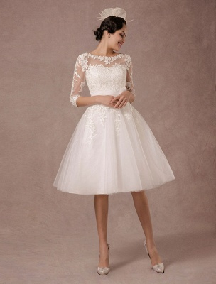 Short Wedding Dress Vintage Lace Applique Long Sleeves Tea Length A Line Tulle Bridal Gown With Flower Sash Exclusive_5
