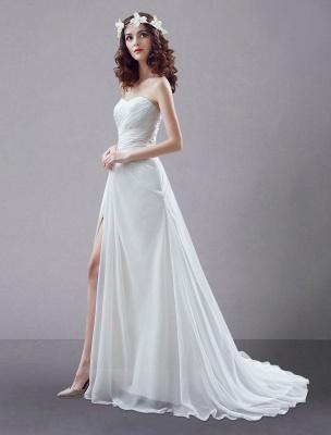 White Wedding Dress Strapless Twisted Split Rhinestone Chiffon Wedding Gown_2
