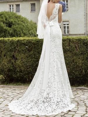 Einfache Brautkleider Spitze Jewel Neck Sleeveless Sash Mermaid Brautkleider mit Zug_2