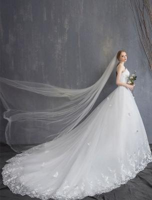 Spitze Brautkleider Elfenbein Trägerlos Ärmellos Applique Prinzessin Brautkleid Mit Zug_1