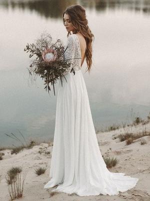 Einfache Hochzeitskleid A-Linie V-Ausschnitt Langarm Bodenlangen Chiffon Spitze Brautkleider_2