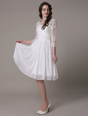 Simple Wedding Dressses Chiffon V Neck Lace A Linepleated Bridal Dress Exclusive_5