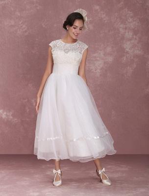Mini robe de mariée élégante en filet à col rond_2