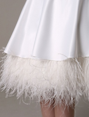 A-Line Wedding Dress Knee-Length Feather Tiered Satin Bow Bridal Dress Exclusive_7