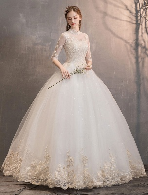Tulle-Wedding-Dresses-Princess-Bridal-Gown-Illusion-Collar-Half-Sleeve-Floor-Length-Bridal-Dress_5