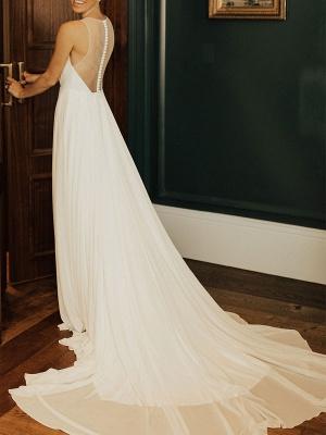 Wedding Dress Deep V-Neck Beaded Sash Chiffon Bridal Dress_3