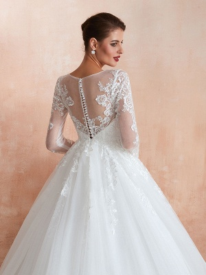Wedding Gown 2021 3/4 Sleeve Jewel Neck Lace Appliqued Beaded Ball Gown Bridal Wedding Dress With Train_9