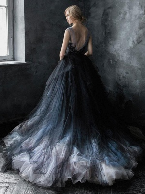 Black Gothic Wedding Dresses A-Line V-Neck Sleeveless Ball Gown Tulle Lace Bridal Gown_2