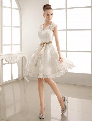Ivory Simple Wedding Dresses 2021 Lace Applique V Neck Ribbon Sash Short Bridal Dress Exclusive_3