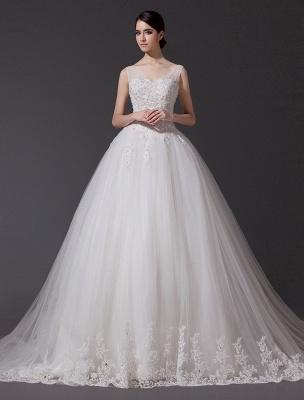 Brautkleider V-Ausschnitt Spitze Applique Brautkleid Pailletten Perlen Illusion Lange Kathedrale Zug Brautkleid_1