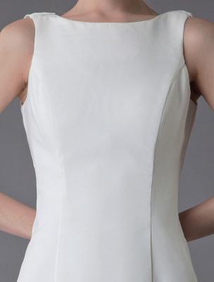 Brautkleider Elfenbein Mantel Einfaches Brautkleid mit Wasserfallausschnitt Strandhochzeitskleider mit Zug Exklusiv_8
