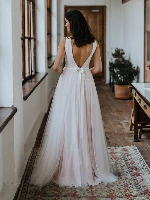 Einfache Hochzeitskleid Backless Brautkleider Chiffon V-Ausschnitt A-Linie Brautkleider_5